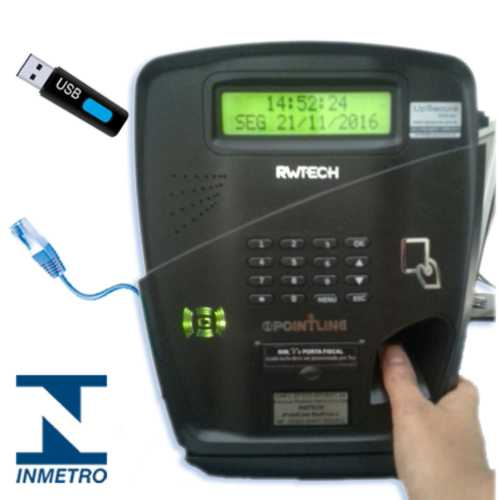 Relógio Biométrico Point Line - Conexão por Rede ou Pendrive